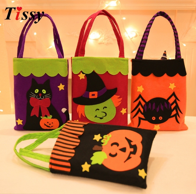 1PC Candy Bag Halloween Gift Bags Trick or Treat Kids Gift Non-woven Gift  Holders Bag Party Favors for Halloween Party Supplies e20555593304