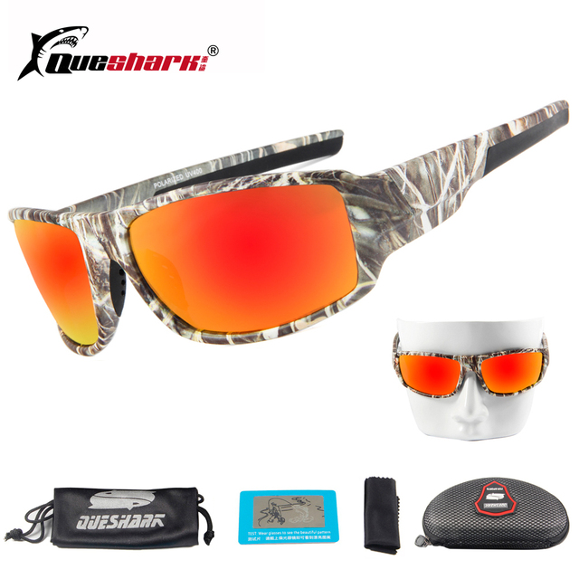 67df79c71c4 QUESHARK Men Camo Polarized Sunglasses Driving Cycling Glasses Tactical Camouflage  Frame Camping Fishing Glasses Bicycle Eyewear