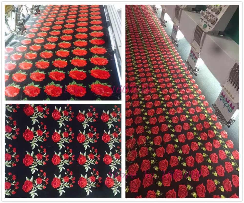 1 adet Büyük Yamalar Kırmızı Çiçek Işlemeli Yama 3D Aplike DIY Dikiş Çıkartmalar Düğün Giyim Tamir kumaş yapışkanı Yamalar