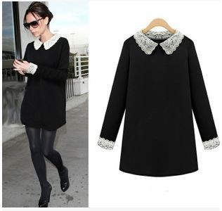2015 New Spring M-4XL 5XL Plus Size Women Long Sleeve Dress with Lace White  Collar Black Formal Work Dresses Free Shipping 3864a1836237