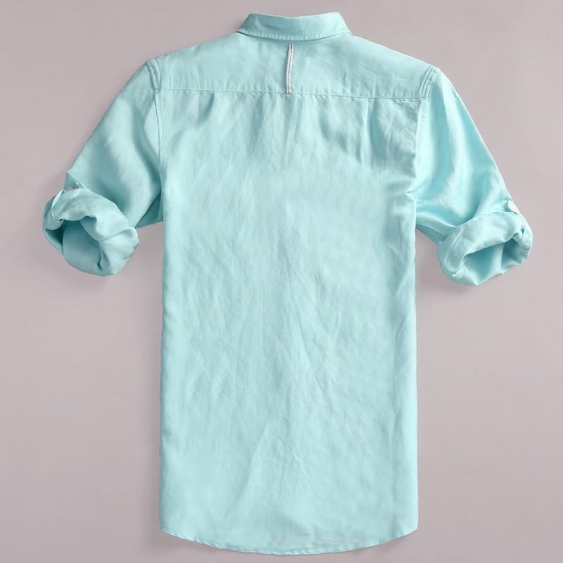 Spanish brand half sleeve linen shirt men summer autumn cotton men shirts casual fashion shirts for men solid flax shirt mens