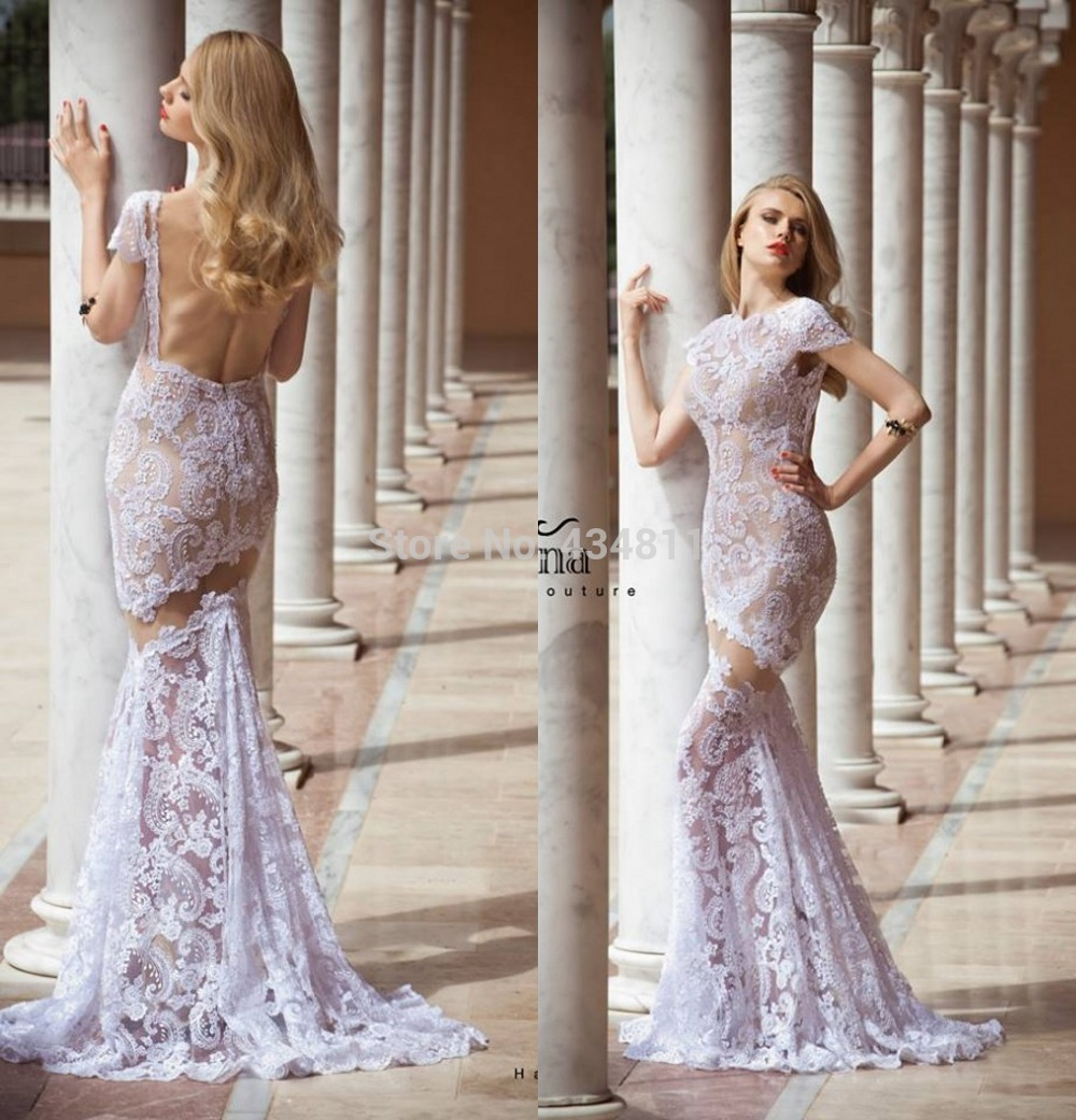 New Fashion GownLace Lilac Wedding Dress Mermaid Long Backless Floor Length Short Sleeves Gown Factory DressWholesale Dr In Dresses From