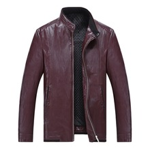 Males's leather-based jackets autumn/winter style males's PU leather-based jackets with fur inside heat plus-size coat trench coat 8XL 7XL