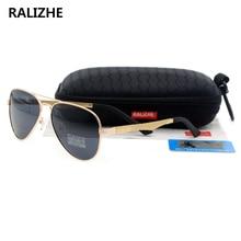 RALIZHE Brand Mens Womens Vintage Polarized Designer Sunglasses HD TAC UV400 Black Lens Aviation Gold Metal Sun Glasses Sport