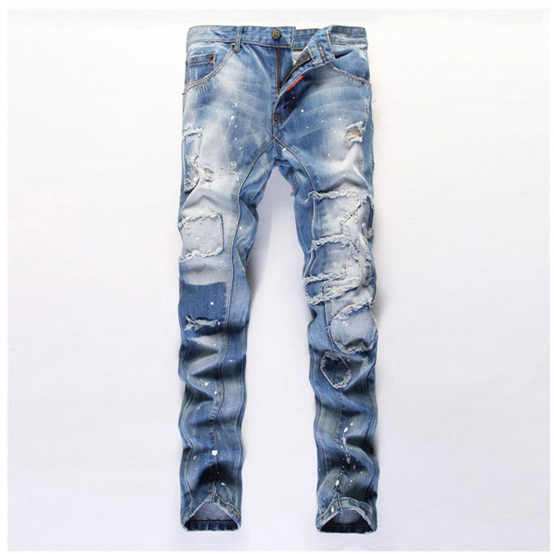 Men Beggar Hole Jeans Fashion Straight Slim Fit Ripped Jeans Men Leisure Patchwork Pants Hot Sale Denim Blue Jeans Size 29-38 new men denim jeans pants scratched patchwork hole beggar trousers fashion straight slim casual vintage mens distressed pants