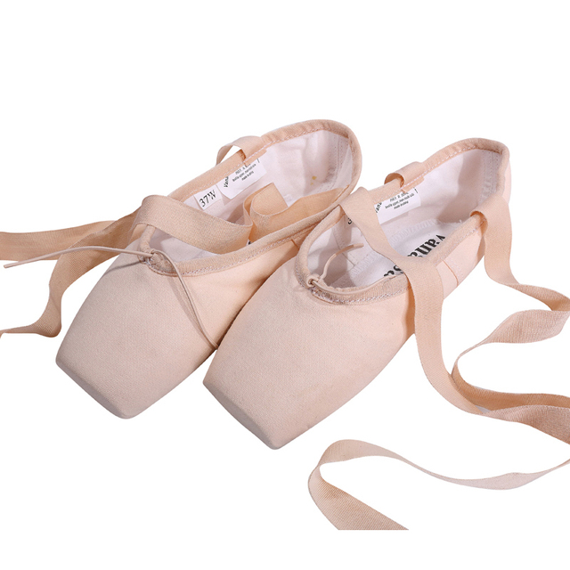Vanassa Canvas Pointe Shoes with Ribbon New Ladies Women's Pink Professional Ballet Dance Pointe Toe Shoes 31-40W Free shipping
