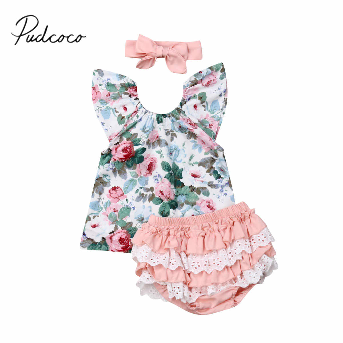2019 Baby Zomer Kleding Peuter Kid Baby Meisje Ruches Korte Mouwen Bloemen Tops Shirt PP Shorts Hoofdband 3Pcs Outfits sets 0-3Y