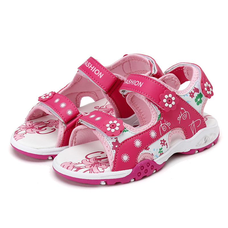 QIUTEXIONG 2018 Fashion Girls Sandals Summer Beach Children Shoes Open-toe Leather Quick-dry Flat Kids Sandals For Princess