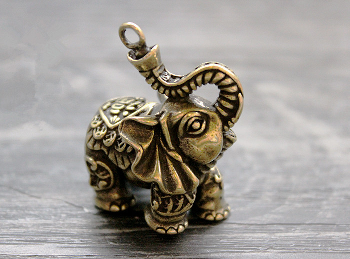 Brass Lucky Money Auspicious Elephant Ornaments Key Ring Pendant EDC Keychain Multi Tools sanrenmu sk009d lucky number 9 carabiner with key ring