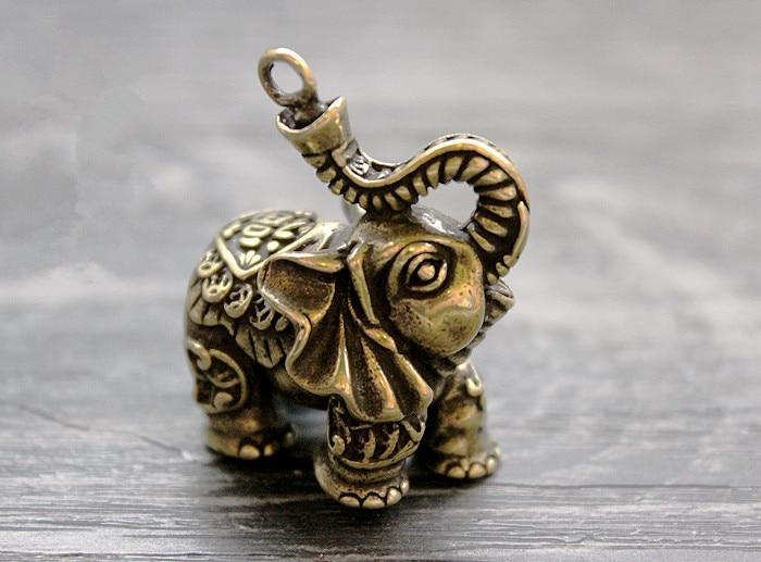 Brass Lucky Money Auspicious Elephant Ornaments Key Ring Pendant EDC Keychain Multi Tools