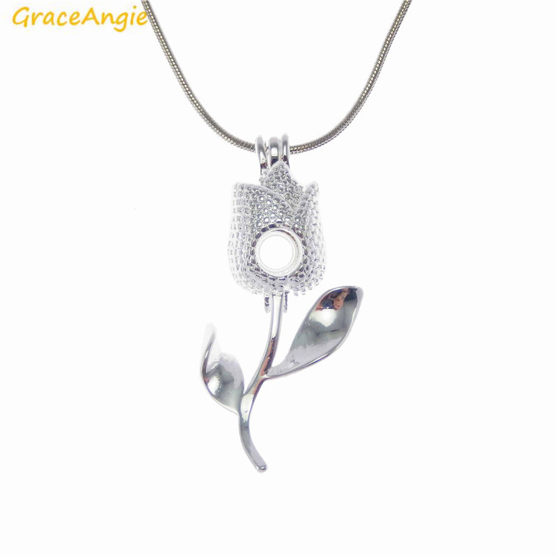 GraceAngie 1PC Bright Silver Rose Locket Pendant Necklace Pearl Bead Cage Prayer Wish Box Hanging Jewerly Accessory Fine Gift