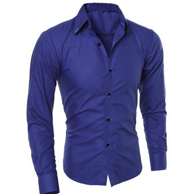 Formal Cotton Slim Fit Male Long Sleeve Shirts