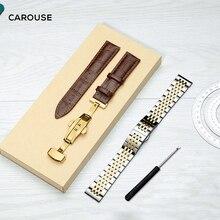 להתהולל נירוסטה מתכת רצועת השעון צמיד 12mm 14mm 16mm 18mm 19mm 20mm 22mm עגל עור להקת שעון רצועת בשילוב מכירות