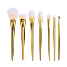 7 pc/set of Cosmetic Brush  Professional Foundation Gold  Makeup BrushTooth Brush Shape Oval Makeup Brush Set Metal Makeup Brush