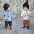 Patchwork primavera león blusa de dibujos animados para los niños chica borla t camisa niño niños ropa de los bebés sudaderas o-cuello de manga larga de algodón tops