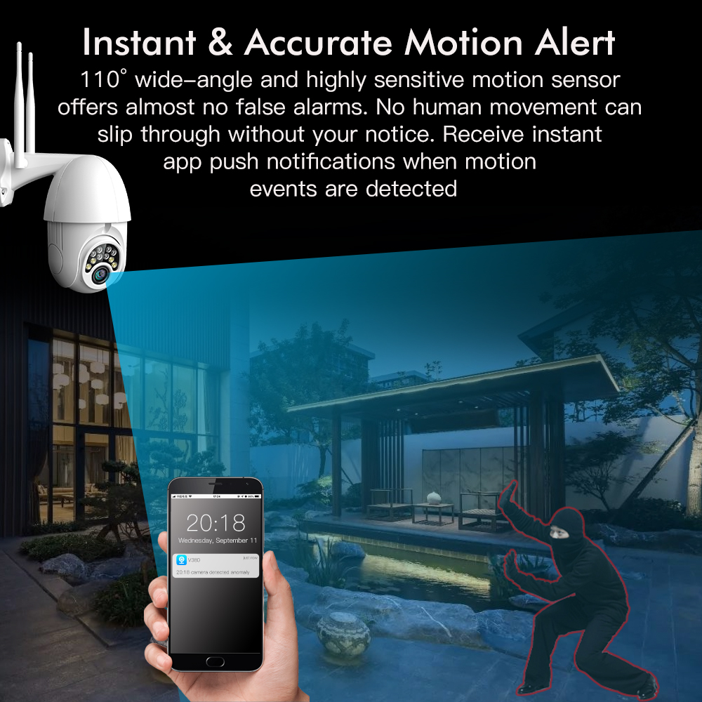 Image 2 - SDETER 1080P PTZ Security WIFI Camera Outdoor Speed Dome Wireless IP Camera CCTV Pan Tilt 4X Zoom IR Network Surveillance 720P-in Surveillance Cameras from Security & Protection