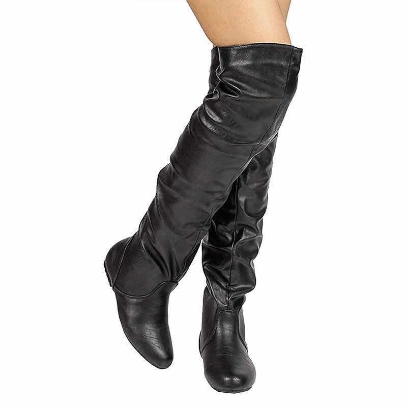 MORAZORA 2019 artı boyutu 48 kadınlar diz çizmeler üzerinde pu yuvarlak ayak sonbahar kış çizmeler basit düz ayakkabı kadın Chelsea çizmeler