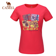 2016 Camel Outdoor Women's Tees Camping Hiking Cotton Short Sleeve Summer T-shirts Breathable A6S1T7137