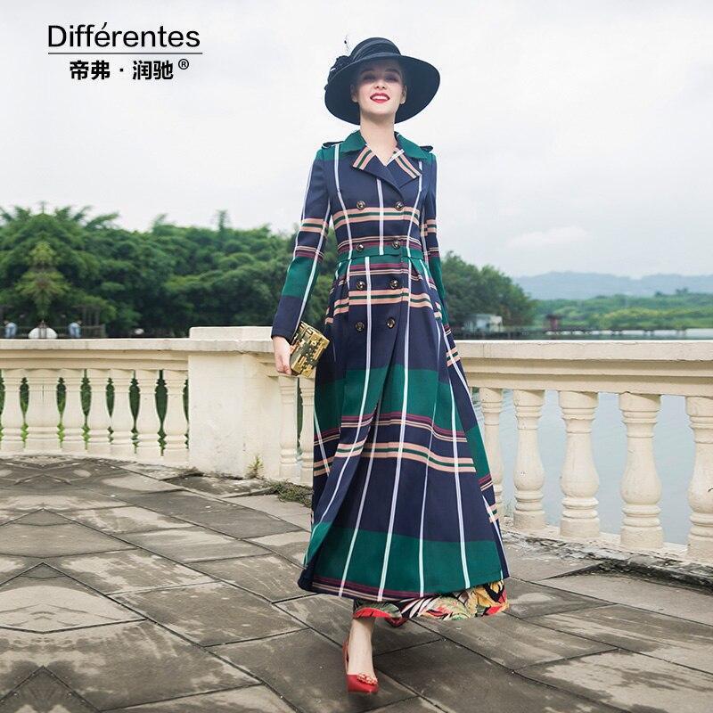 2018 Tranchée Long Manteau Femmes Luxe Plaid De Britannique Hiver Overoat Office Outwear Style Automne Longueur Dz1012 Complet Lady 54qgwtnxf