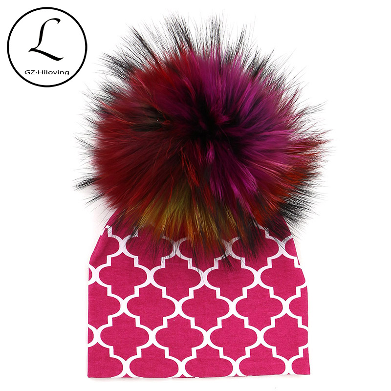 GZHILOVINGL 2017 Autumn Winter 0-6 Months Baby Hat Cotton Beanie Cap Toddler Baby Girls And Boys Pom Pom Hats Kids Hats new star spring cotton baby hat for 6 months 2 years with fluffy raccoon fox fur pom poms touca kids caps for boys and girls
