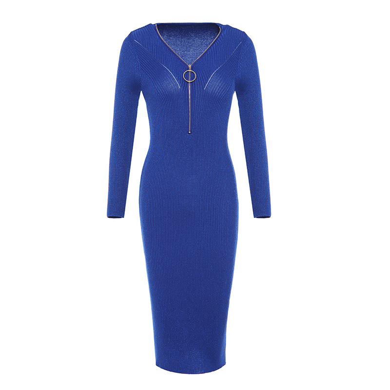 New Retro Women Knitted Bright Silk V-neck Zippers Bodycon Full Sleeves Long Dress Ladies Slim Fit Ankle-length Dress Spring new bright ракетная установка на радиоуправлении new bright