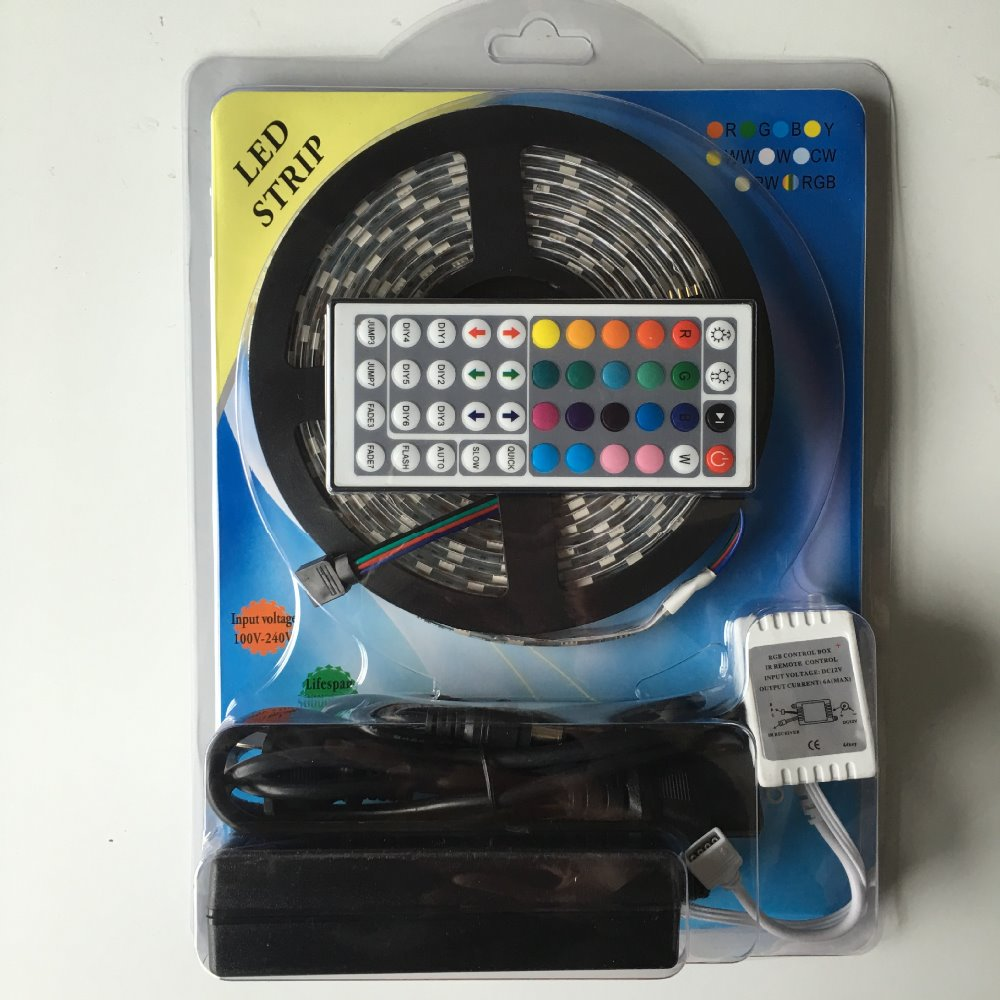 5M RGB Led Strips 5050 Flexible Waterproof+24 or 44 Key RF Dimmable Remote Controller+AC110/220V DC 12V 2A adapter colored light