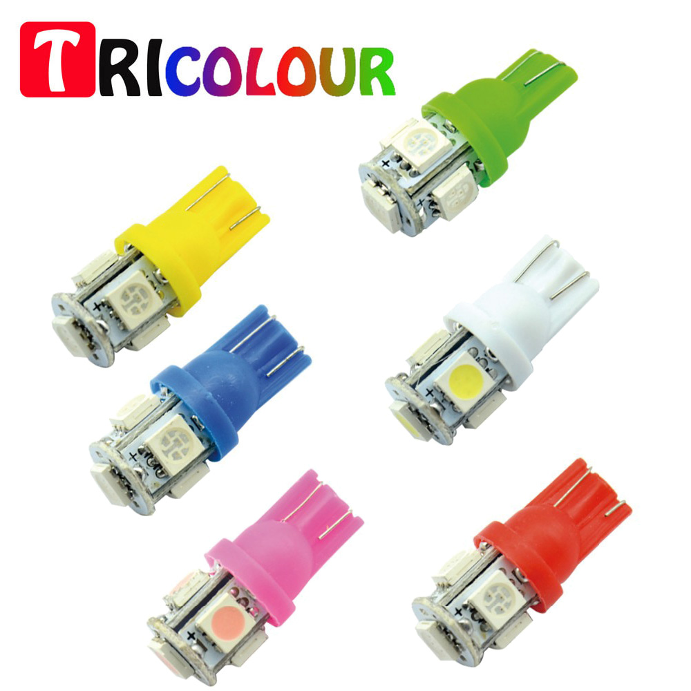 TRICOLOUR 100 X T10 5050 5SMD Car LED T10 5 LED 5050 SMD Clearance Side marker Turn white red blue green yellow pink #TB12 4pcs car w5w t10 led light 48 3014 smd side marker lamps warm white clearance lights bulb dc 12v