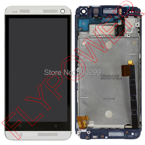 For HTC ONE M7 Dual Sim 802t 802D 802W Lcd screen display with silver touch screen digitizer Assembly + Frame; 100% warranty silver grey gold white lcd display for htc one m8 831c touch screen digitizer assembly frame for htc one m8 831c free ship