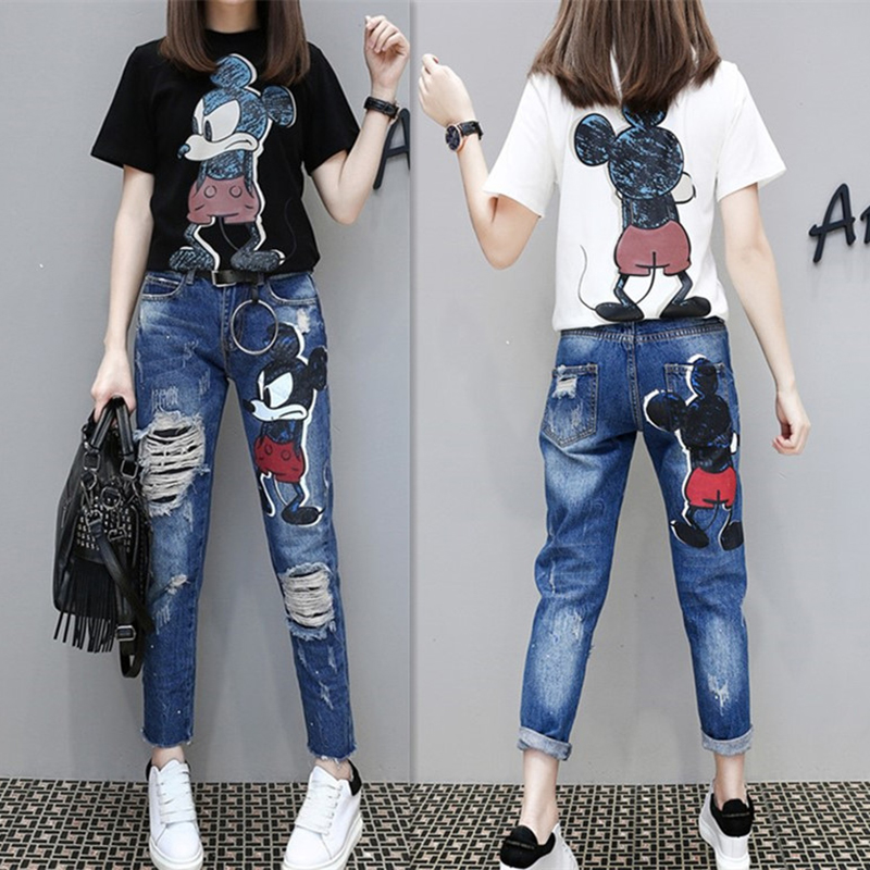 Women New Spring Summer Casual 2-piece Set Women Fashion Cartoon Mickey Pattern T-shirt + Hole Slimming Nine Points Jeans Suit