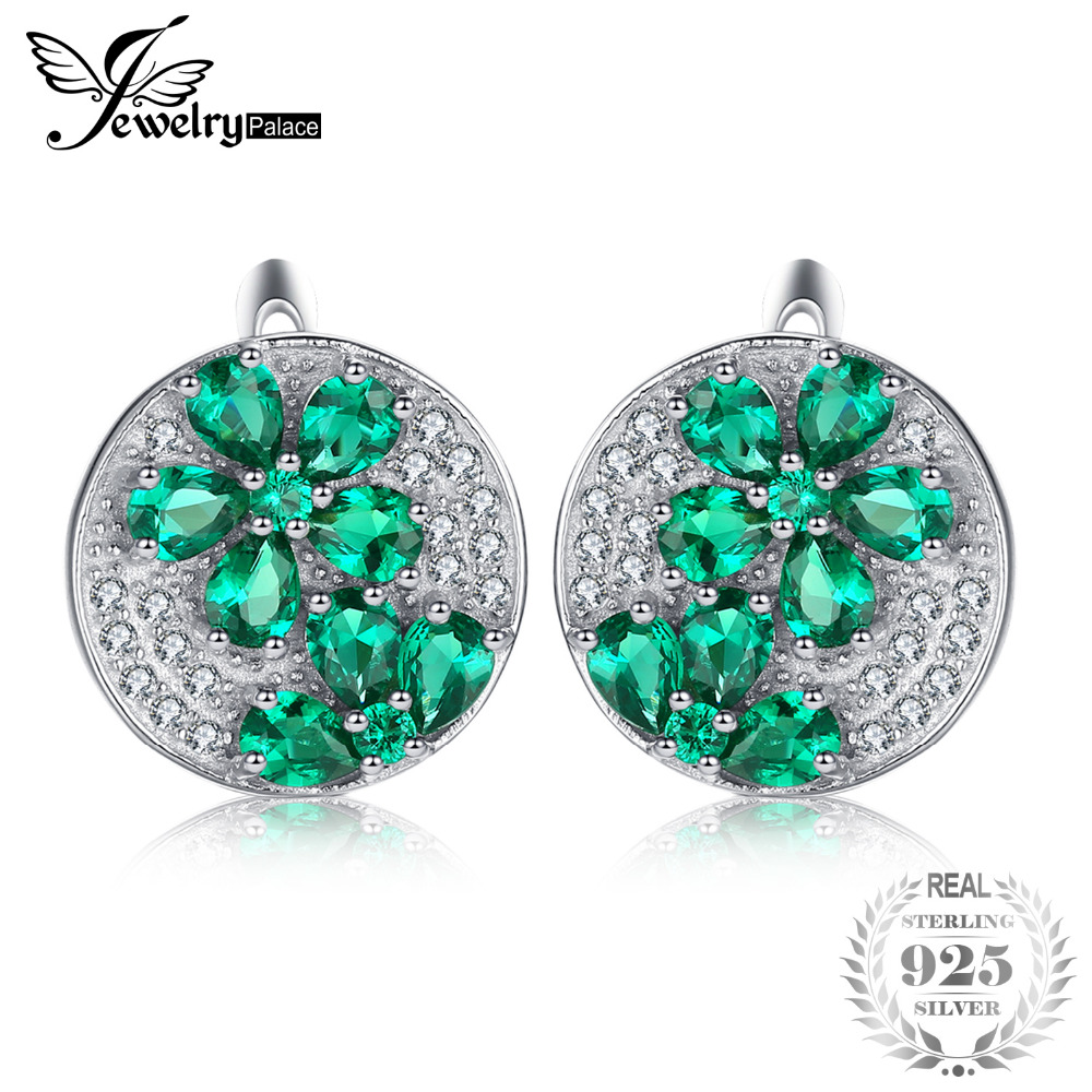 JewelryPalace Huge Luxury 3.3ct Created Emerald Clip On Earrings Genuine 925 Sterling Silver Fine Jewelry Special For Women