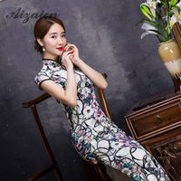 Women Chinese Traditional Dress Vestido Oriental Cotton Elasticity Vintage Cheongsam Sleeveless Qipao Modern Cheongsams Velour