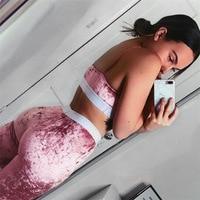 2018 Ternos De Fitness Tanque Cropped Top Treino de Veludo Rosa das Mulheres sutiã E Calças Legging 2 Peças Set Sexy Feminino De Veludo treino
