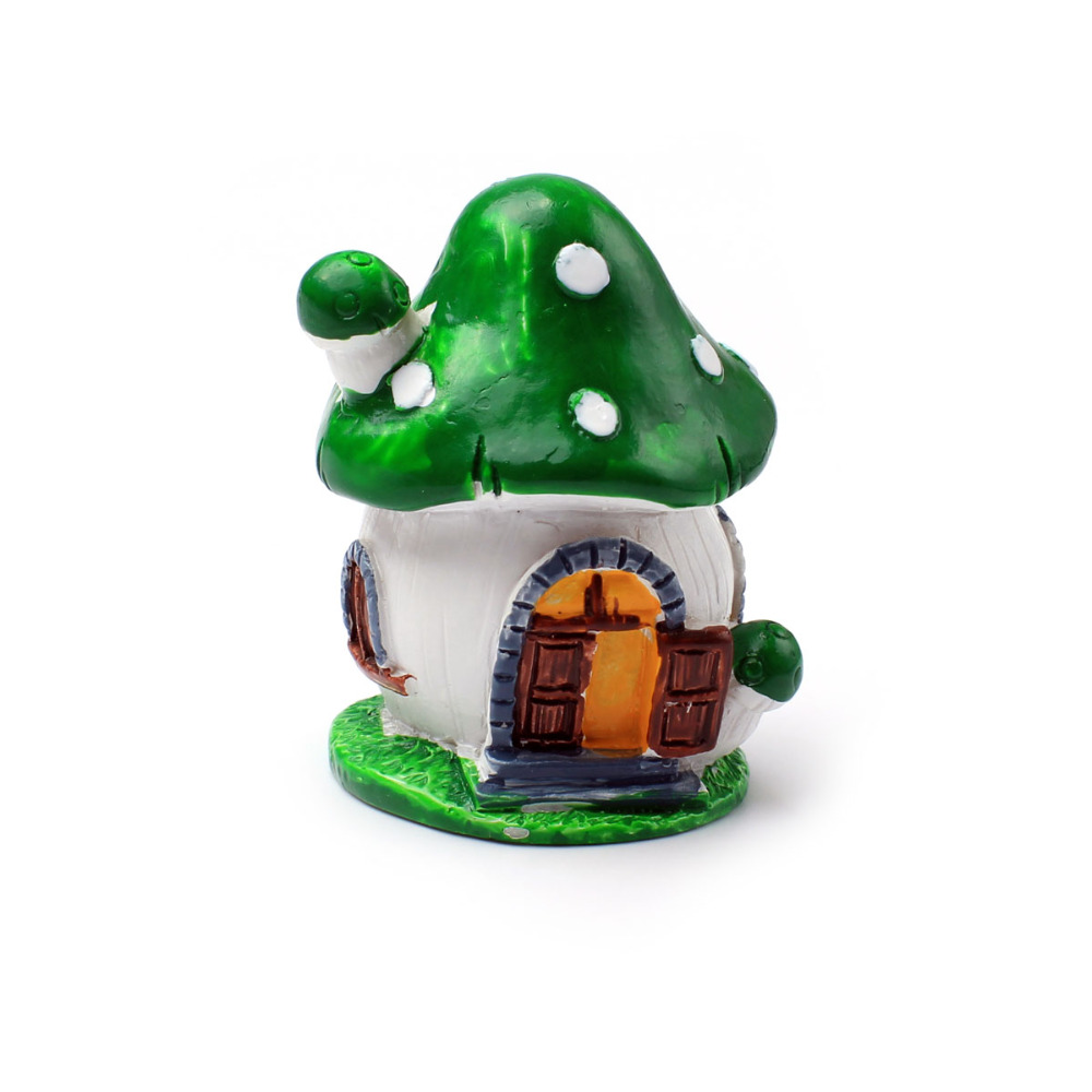 Geen Mushroom Love House Resin Crafts Micro Landscapes Dollhouse Bonsai Figurine Miniatures Fairy Garden Ornament Decorations