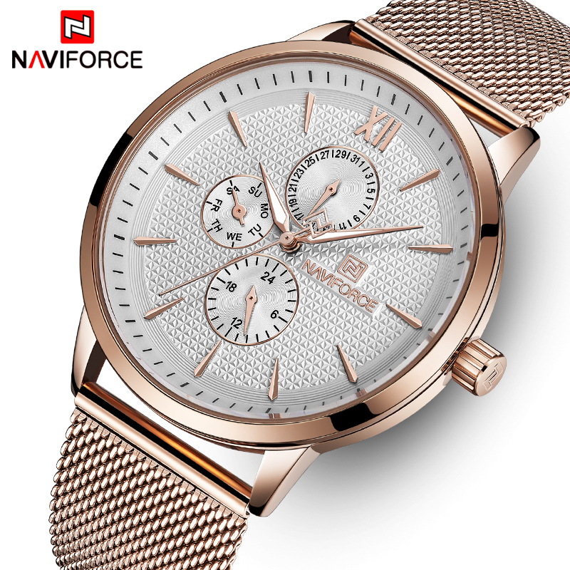 NAVIFORCE Top Brand Luxury Watches Men Stainless Steel Ultra Thin Watches Male Date Quartz Clock Sports Watch Relogio Masculino ctpor luxury watches men black stainless steel ultra thin watches men classic quartz date men s wrist watch relogio masculino d