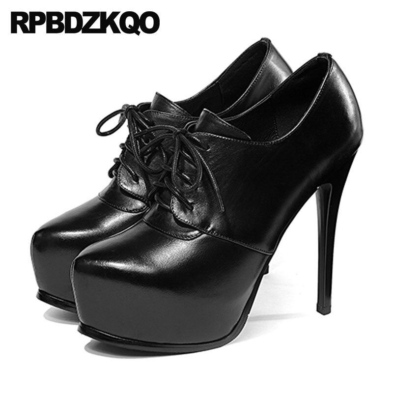 2aecc64c91df women handmade black shoes gothic super high heels thin ultra exotic dancer  fetish lace up extreme round platform pumps stripper
