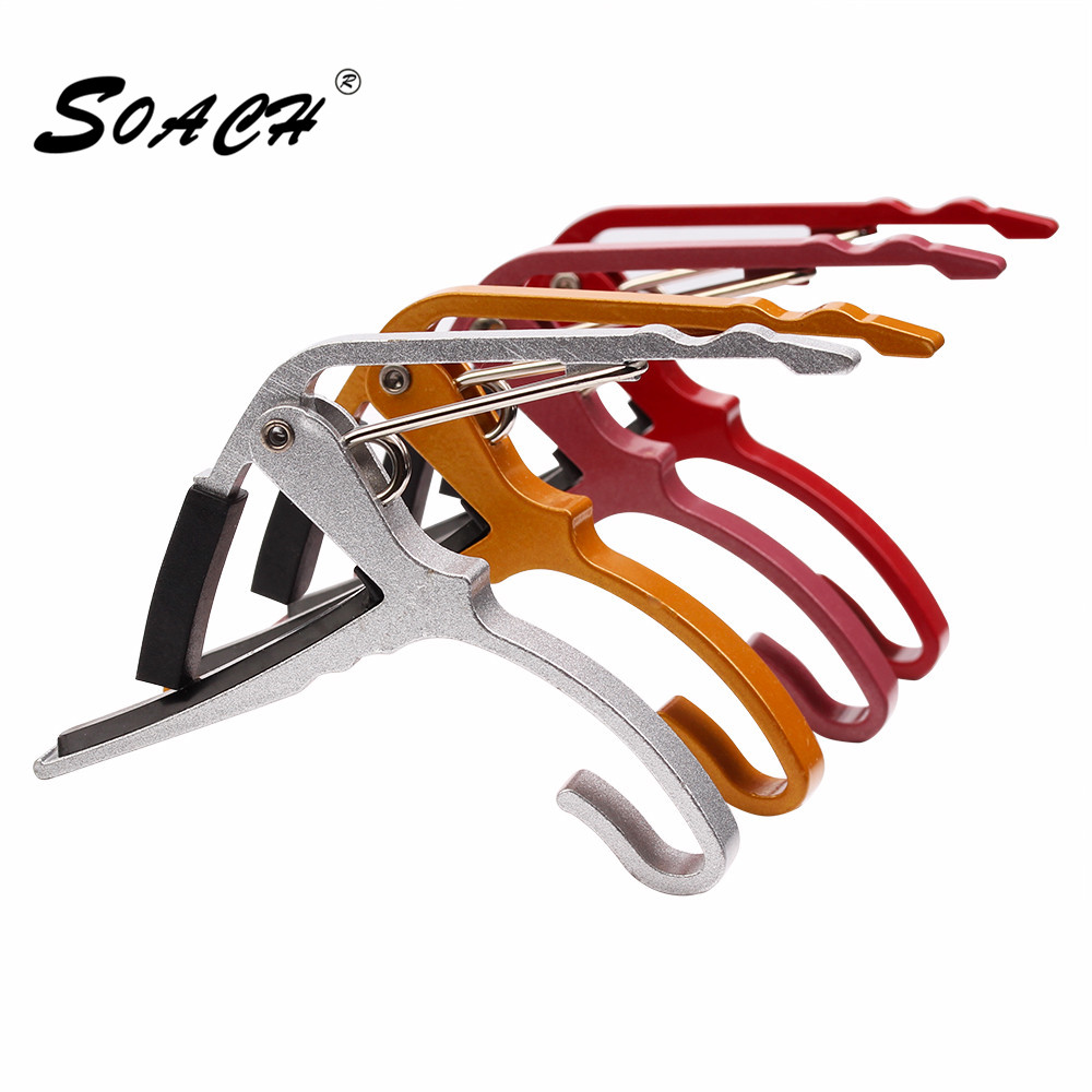 SOACH 2017 nueva guitarra ukelele Acoustic Tune Quick Change Trigger Guitarra Capo Key Clamp colores metal capo