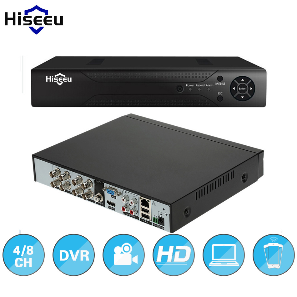 Hiseeu ONVIF 4 8CH DVR stand alone Full HD P2P Cloud H 264 VGA HDMI video