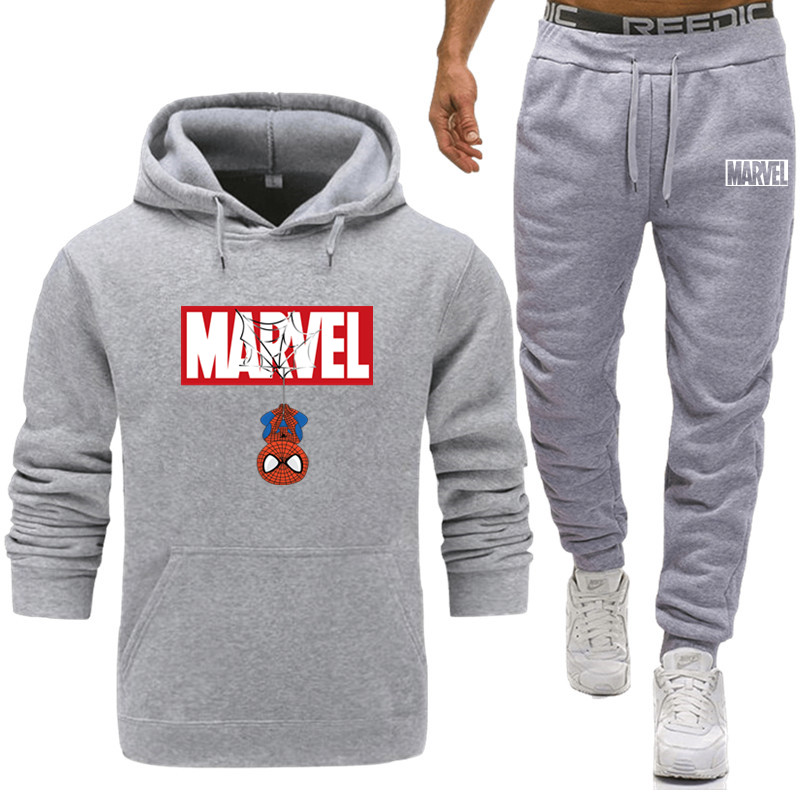 Tracksuit Mens Set Brand Spiderman Marvel Two Piece Sets Sportswear All Cotton Inner Fleece Thick Hoodies+ Pants Sporting Suit