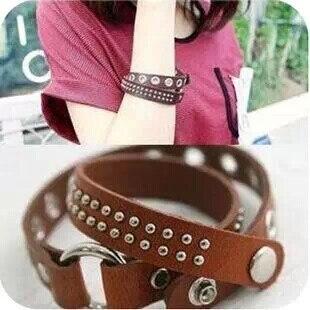 Watch Belt Style Brown/Black Leather Spike Bracelet Bangles Punk Silver Plated Rivet Snap Button Jewelry For Women Men Pulseras