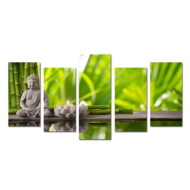 Moderne Mur de Toile Art 5 Panneaux Peintures Pour Salon Décor à la maison  Bouddha Vert Bambou Pierres Zen Estampes et Affiches peinture dans Peinture  ...