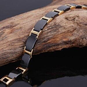 Image 5 - Gold Color Polished Stainless Steel Women Bracelets For Men Luxury Ceramic Health Care Energy Magnetic Man Bracelet Male Female