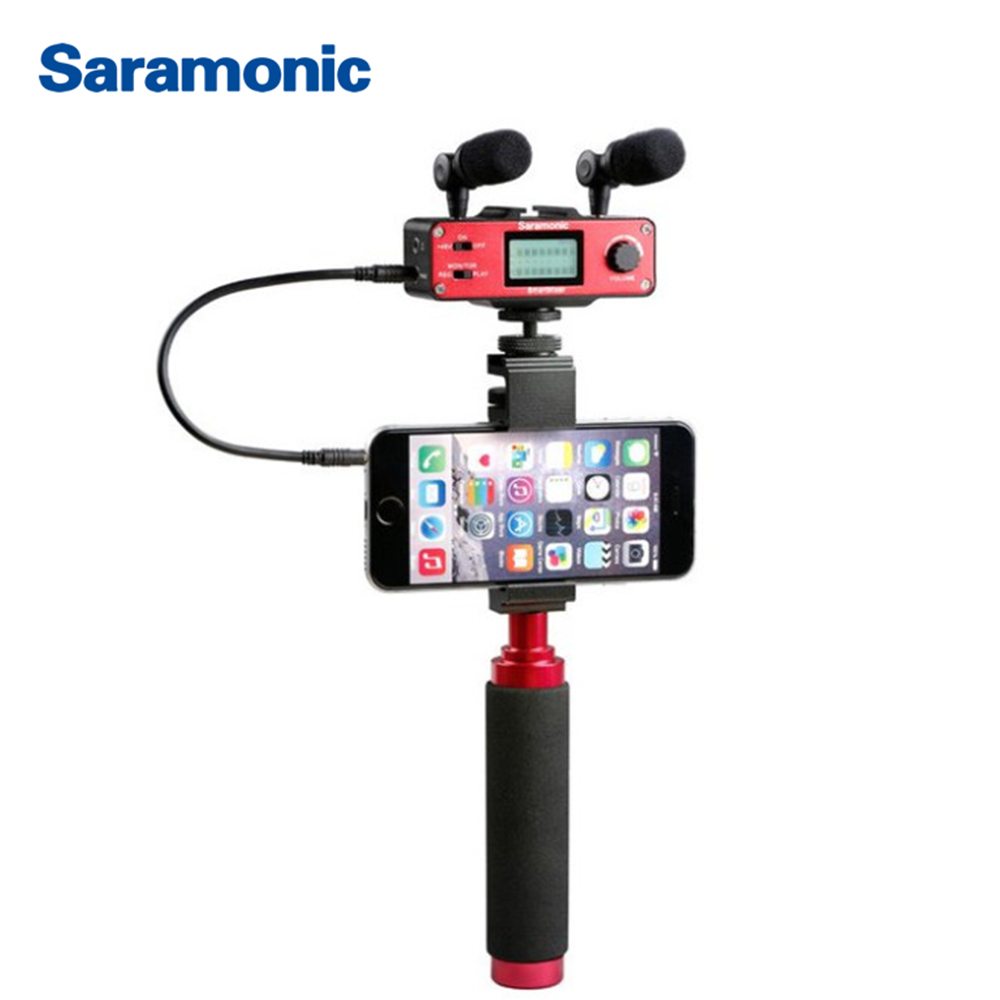 Saramonic SmartMixer Smartphone Video Film microphone Handheld Recording Stereo Microphone Rig for iPhone Samsung Android