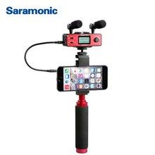 Saramonic SmartMixer Smartphone Film wideo mikrofon ręczny nagrywanie mikrofon stereofoniczny Rig dla iPhone Samsung Android