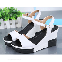 women sandals fashion Summer Platform Sandals Women Peep Toe High Wedges Heels Ankle Buckles  Female Sandals Shoes недорого