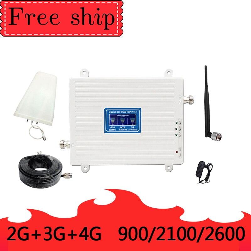 2G 3G 4G 900/2100/2600 MHZ GSM WCDMA LTE amplificateur de Signal de téléphone portable Gain 70db 2G 3G 4G LTE 2600 mhz répéteur de téléphone portable
