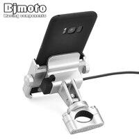 BJMOTO Universal Motorcycle Bike Scooter ATV 19 30MM Handlebar Rearview Mirror Mobile Phone Holder Mount Bracket USB charger