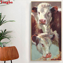 Full SquareRound Drill 5D DIY Diamond Painting cow animal patterns bead Embroidery Cross Stitch 3d Pictures Mosaic Home Decor(China)