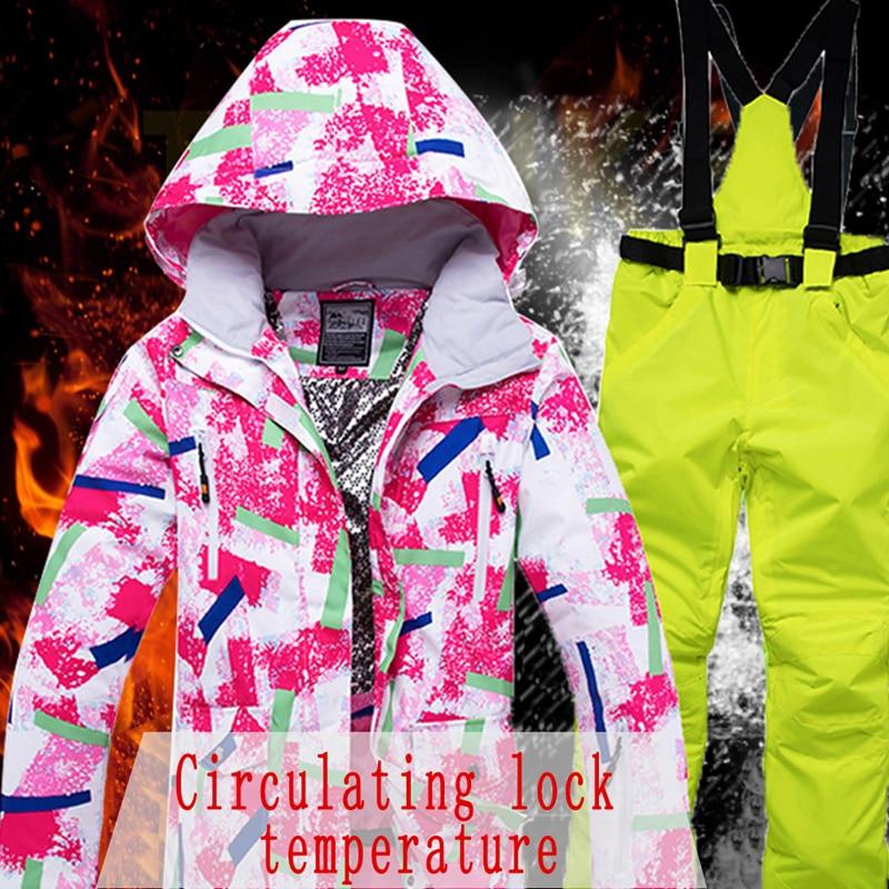 Veste de neige femme combinaison de Ski hiver veste de neige et pantalon coupe-vent imperméable vêtements colorés Snowboard ensembles