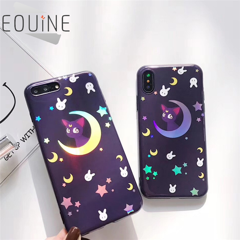 Colorful Laser Cat Phone Case For Iphone X Case For Iphone 6 6s 7 8 Plus Cute Cartoon Moon Star Cover Fashion Smooth Cases Discounts Price