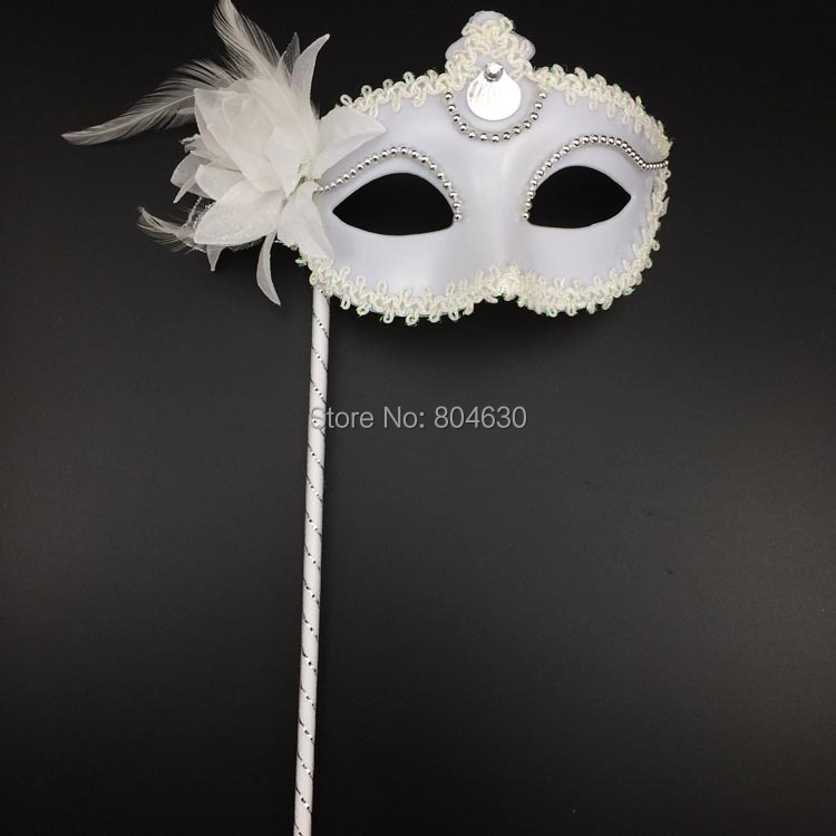 Silver Eyeline Lace Party Masks stick lateral feather flowers Venetian Masquerade Ball Eye Mask Black White S-004 - Caly Tao's store